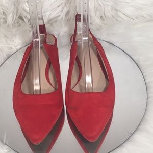 Sofree 8.5 Faux Suede Slingback Flats Red